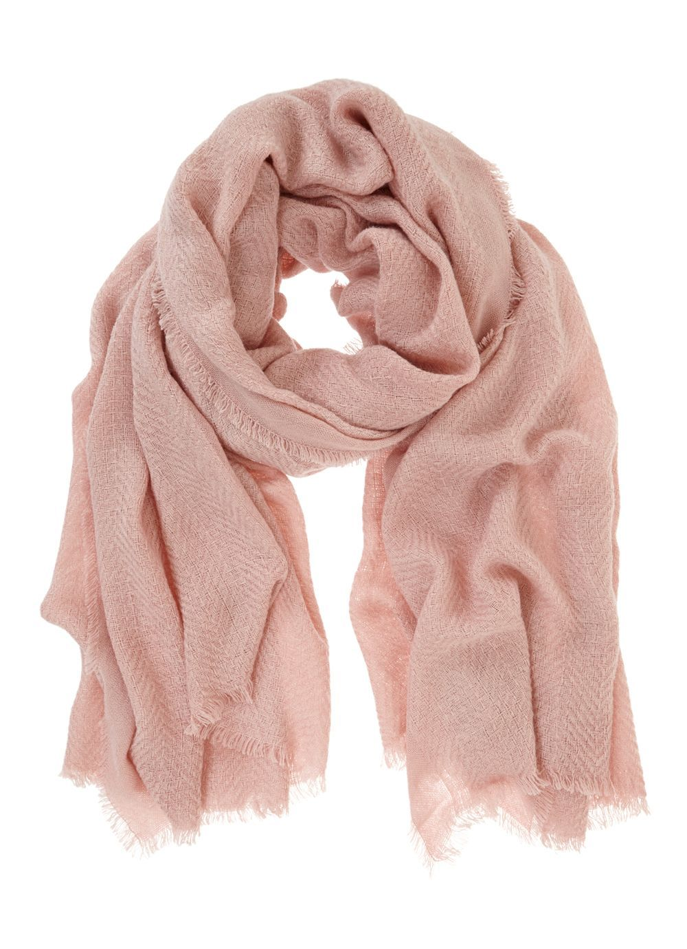 Rose Plain Textured Scarf, Pink - predominant colour: blush; occasions: casual, creative work; type of pattern: standard; style: regular; size: standard; material: fabric; pattern: plain; season: a/w 2016