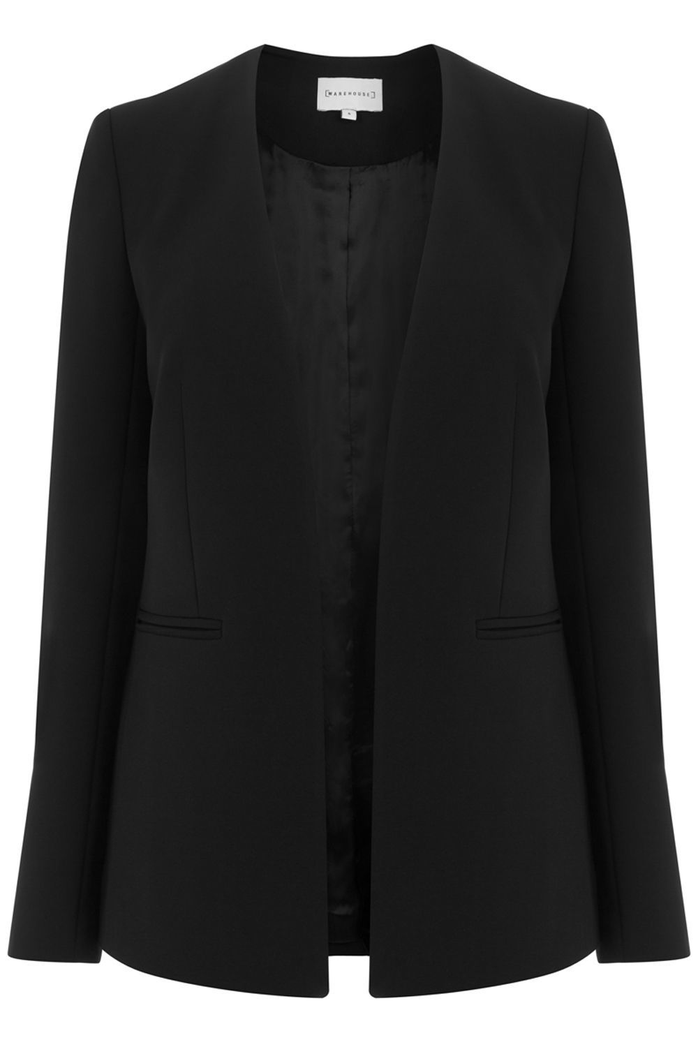 Clean Collarless Jacket, Black - pattern: plain; style: single breasted blazer; collar: round collar/collarless; predominant colour: black; occasions: work; length: standard; fit: tailored/fitted; fibres: polyester/polyamide - 100%; sleeve length: long sleeve; sleeve style: standard; texture group: crepes; collar break: low/open; pattern type: fabric; wardrobe: investment; season: a/w 2016