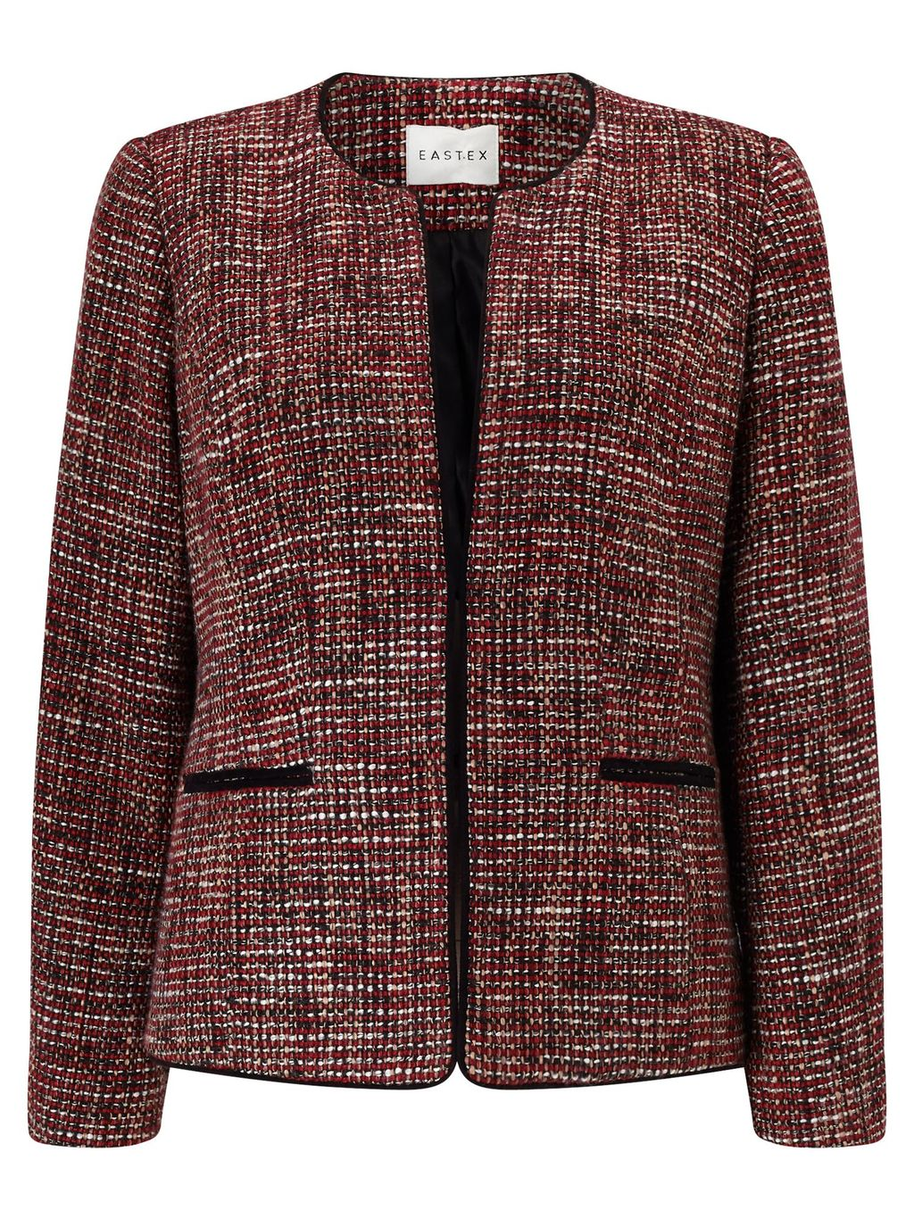 Tweed Jacket, Multi Coloured - collar: round collar/collarless; style: boxy; pattern: herringbone/tweed; secondary colour: white; predominant colour: burgundy; length: standard; fit: straight cut (boxy); fibres: wool - mix; occasions: occasion; sleeve length: long sleeve; sleeve style: standard; collar break: medium; pattern type: fabric; texture group: tweed - light/midweight; season: a/w 2016; wardrobe: event