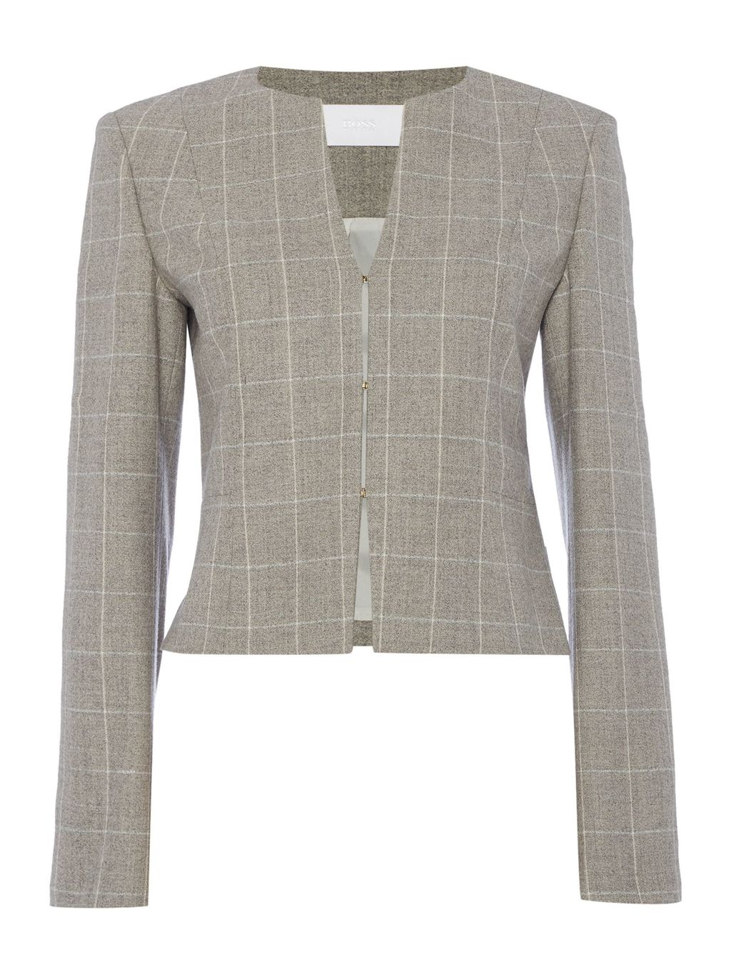 Jafila1 Square Check Round Neck Jacket, Beige - pattern: checked/gingham; style: single breasted blazer; collar: round collar/collarless; secondary colour: ivory/cream; predominant colour: mid grey; occasions: work; length: standard; fit: tailored/fitted; fibres: wool - mix; sleeve length: long sleeve; sleeve style: standard; collar break: high; pattern type: fabric; texture group: other - light to midweight; wardrobe: investment; season: a/w 2016