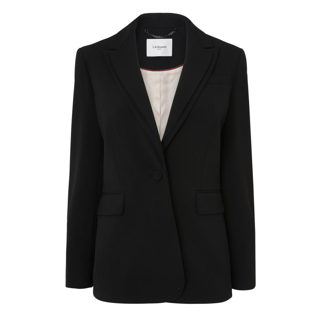 Loretta Black Jacket Black - pattern: plain; style: single breasted blazer; length: below the bottom; collar: standard lapel/rever collar; predominant colour: black; occasions: work, creative work; fit: straight cut (boxy); fibres: polyester/polyamide - stretch; sleeve length: long sleeve; sleeve style: standard; collar break: medium; pattern type: fabric; texture group: woven light midweight; season: a/w 2016
