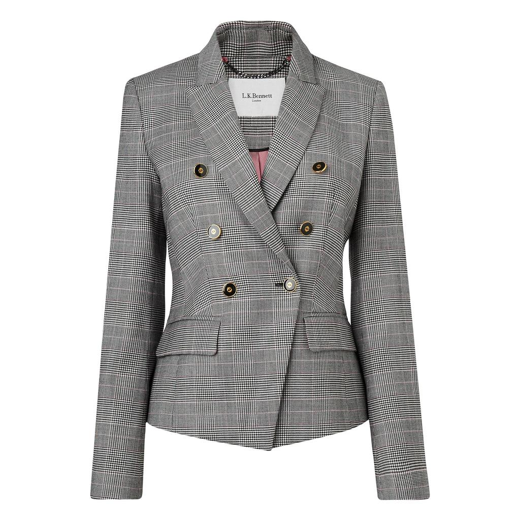 Neha Grey Wool Jacket - pattern: checked/gingham; style: double breasted blazer; collar: standard lapel/rever collar; predominant colour: charcoal; occasions: work, creative work; length: standard; fit: tailored/fitted; fibres: wool - stretch; sleeve length: long sleeve; sleeve style: standard; collar break: medium; pattern type: fabric; pattern size: light/subtle; texture group: woven light midweight; wardrobe: investment; season: a/w 2016