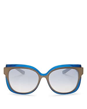 Combo Round Sunglasses, 55mm - predominant colour: diva blue; occasions: casual, holiday; style: round; size: standard; material: plastic/rubber; pattern: plain; finish: plain; season: a/w 2016; wardrobe: highlight