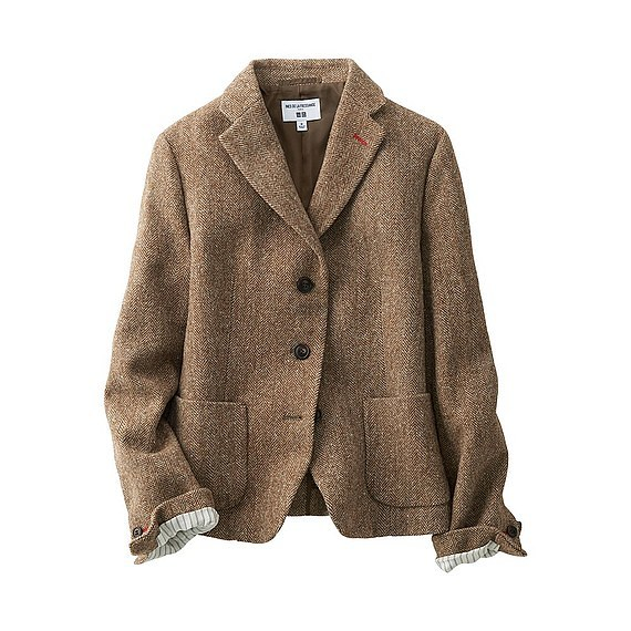 Women Ines Soft Tweed Jacket (Size L) Brown - style: single breasted blazer; collar: standard lapel/rever collar; pattern: herringbone/tweed; predominant colour: camel; occasions: work, creative work; length: standard; fit: tailored/fitted; fibres: wool - mix; sleeve length: long sleeve; sleeve style: standard; collar break: medium; pattern type: fabric; pattern size: standard; texture group: woven light midweight; wardrobe: investment; season: a/w 2016