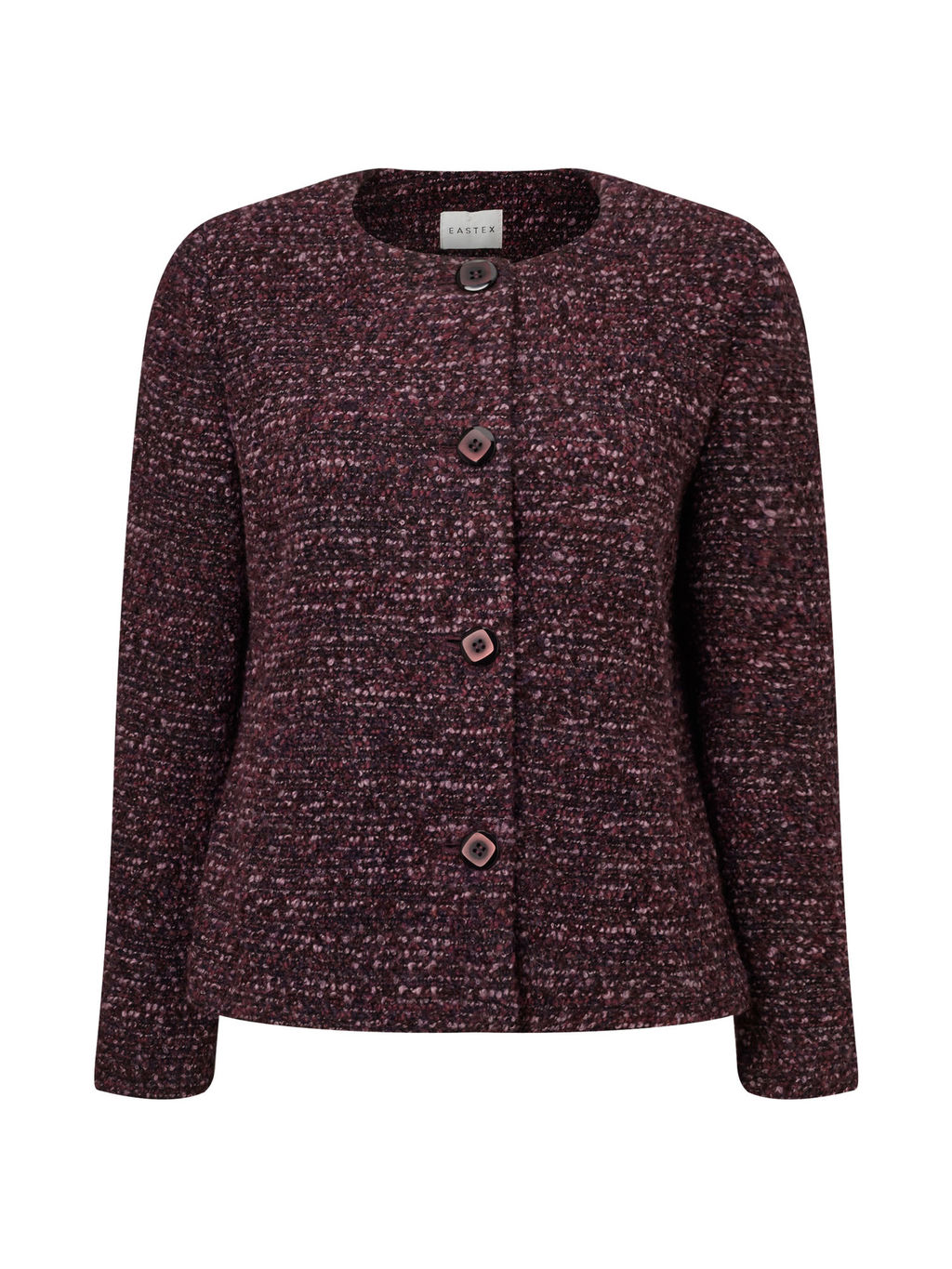 Boucle Jacket - pattern: plain; collar: round collar/collarless; style: boxy; predominant colour: burgundy; occasions: work; length: standard; fit: straight cut (boxy); fibres: acrylic - mix; sleeve length: long sleeve; sleeve style: standard; collar break: high; pattern type: fabric; texture group: woven light midweight; wardrobe: investment; season: a/w 2016