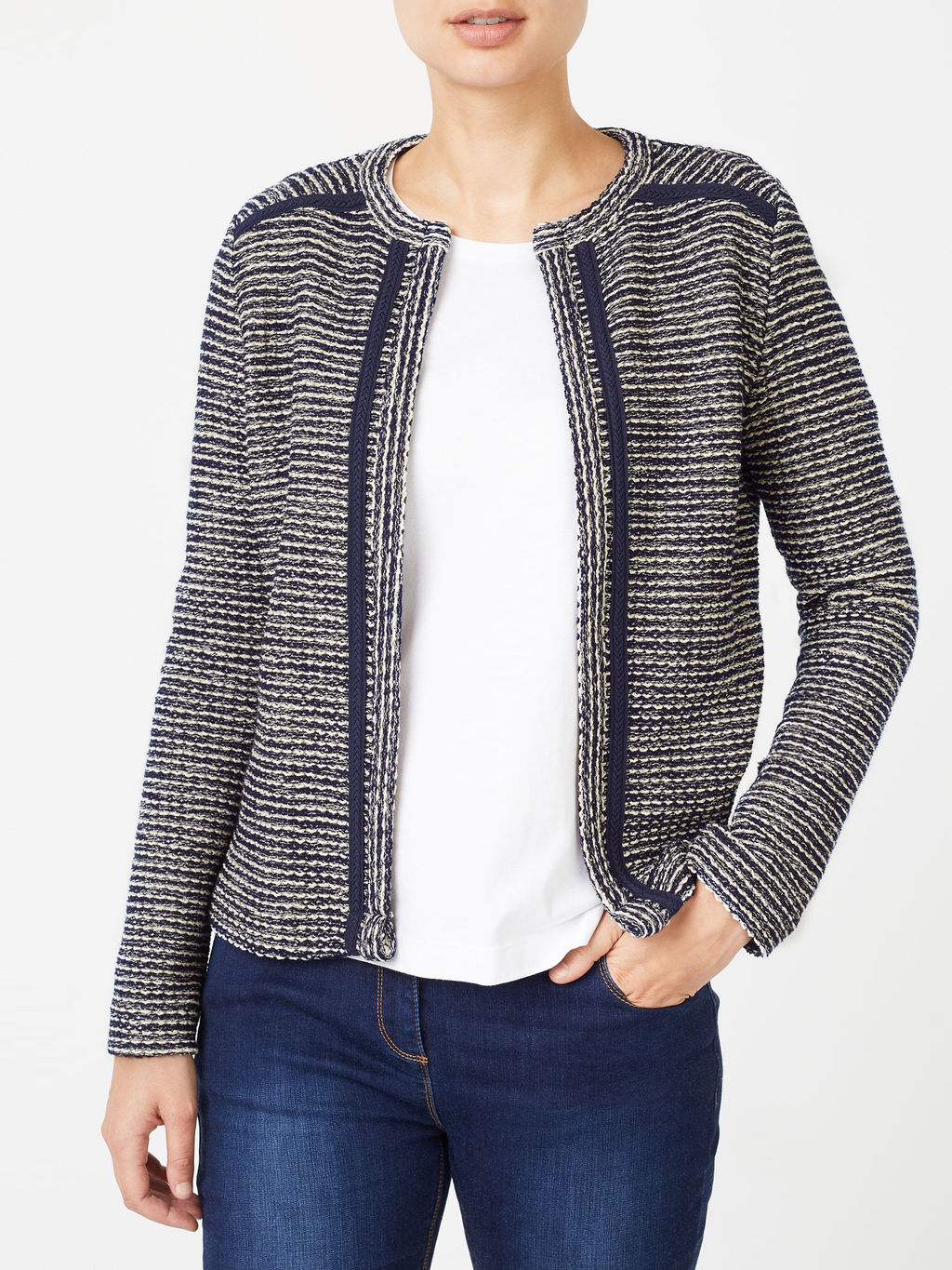 Boucle Jacket - pattern: plain; collar: round collar/collarless; style: boxy; secondary colour: white; predominant colour: royal blue; occasions: casual, creative work; length: standard; fit: straight cut (boxy); fibres: cotton - mix; sleeve length: long sleeve; sleeve style: standard; collar break: low/open; pattern type: fabric; texture group: tweed - bulky/heavy; season: a/w 2016; wardrobe: highlight
