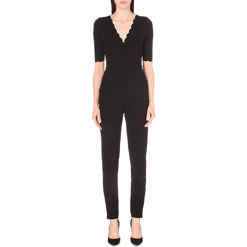 Beau Scalloped Jersey Jumpsuit, Women's, Black - length: standard; neckline: v-neck; pattern: plain; predominant colour: black; occasions: evening; fit: body skimming; fibres: viscose/rayon - stretch; sleeve length: half sleeve; sleeve style: standard; style: jumpsuit; pattern type: fabric; texture group: jersey - stretchy/drapey; season: a/w 2016; wardrobe: event