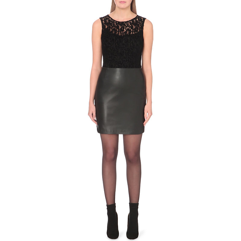 Raff Lace And Leather Dress, Women's, Noir - style: shift; length: mid thigh; fit: tailored/fitted; sleeve style: sleeveless; hip detail: draws attention to hips; predominant colour: black; occasions: evening; fibres: leather - 100%; neckline: crew; sleeve length: sleeveless; texture group: leather; pattern type: fabric; pattern size: light/subtle; pattern: patterned/print; embellishment: lace; shoulder detail: sheer at shoulder; season: a/w 2016; wardrobe: event; embellishment location: top