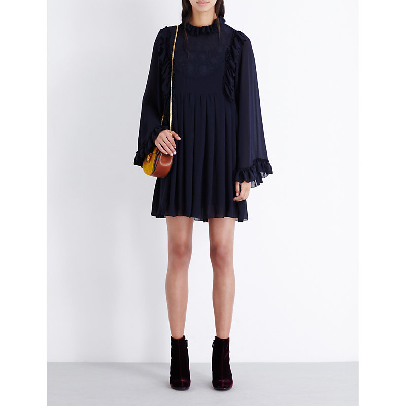 Floral Embroidered Pleated Chiffon Dress, Women's, Blue - style: shift; length: mid thigh; pattern: plain; neckline: high neck; predominant colour: navy; occasions: evening; fit: body skimming; fibres: polyester/polyamide - mix; hip detail: soft pleats at hip/draping at hip/flared at hip; sleeve length: long sleeve; sleeve style: standard; texture group: sheer fabrics/chiffon/organza etc.; pattern type: fabric; season: a/w 2016