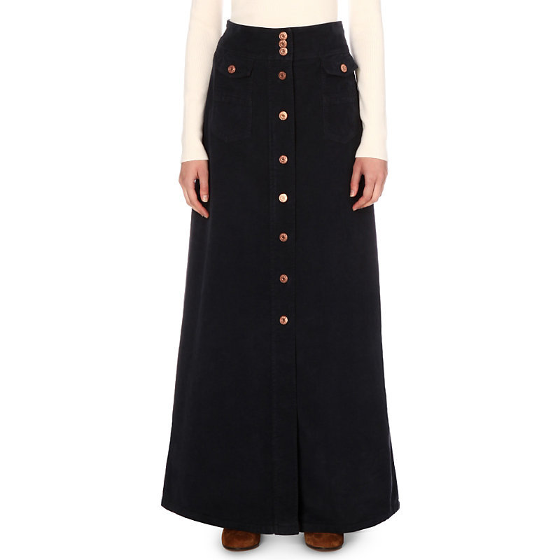 Button Detail Corduroy Skirt, Women's, Dark Navy - pattern: plain; length: ankle length; fit: loose/voluminous; waist: high rise; predominant colour: navy; occasions: casual, creative work; style: a-line; fibres: cotton - stretch; texture group: corduroy; pattern type: fabric; wardrobe: basic; season: a/w 2016
