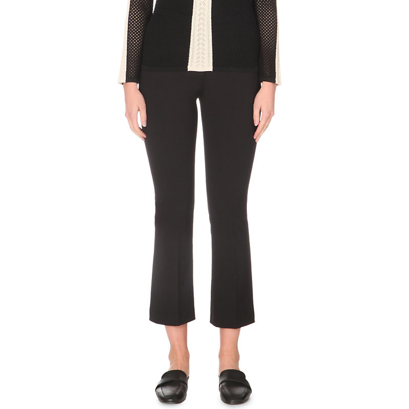 Heart Stretch Crepe Trousers, Women's, Noir - pattern: plain; waist: mid/regular rise; predominant colour: black; length: calf length; fibres: polyester/polyamide - 100%; texture group: crepes; fit: slim leg; pattern type: fabric; style: standard; occasions: creative work; season: a/w 2016