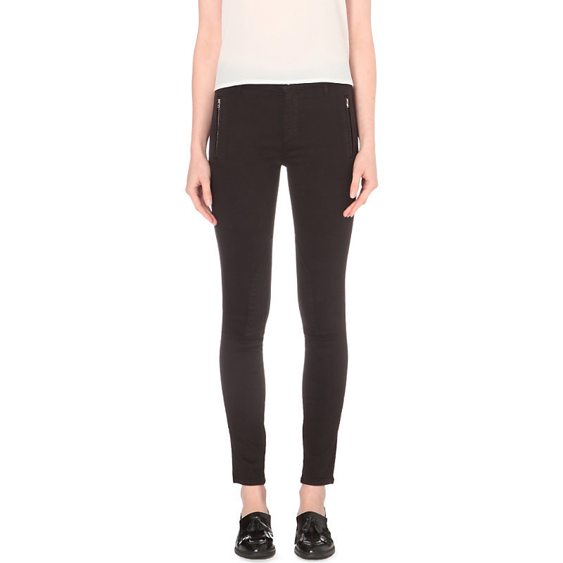 The Rebound Jodhpur Skinny Mid Rise Jeans, Women's, Black - style: skinny leg; length: standard; pattern: plain; waist: mid/regular rise; predominant colour: black; occasions: casual; fibres: cotton - stretch; texture group: denim; pattern type: fabric; wardrobe: basic; season: a/w 2016