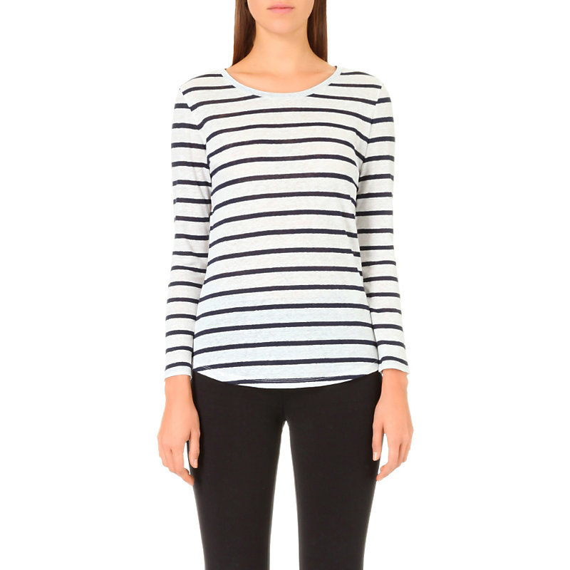 Tommy Striped Linen Top, Women's, Size: Large, White - pattern: horizontal stripes; predominant colour: white; secondary colour: black; occasions: casual; length: standard; style: top; fibres: linen - 100%; fit: body skimming; neckline: crew; sleeve length: long sleeve; sleeve style: standard; texture group: linen; pattern type: fabric; multicoloured: multicoloured; wardrobe: basic; season: a/w 2016