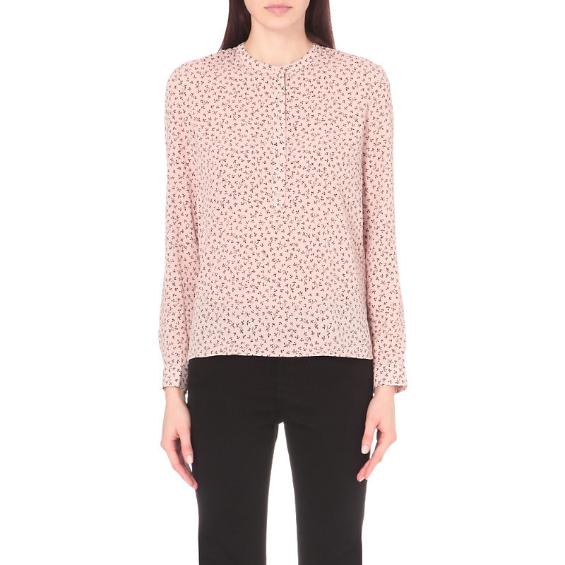 Falaise Woven Grandad Shirt, Women's, Ballet Blush - style: shirt; predominant colour: blush; occasions: work, creative work; length: standard; neckline: collarstand; fibres: polyester/polyamide - 100%; fit: body skimming; sleeve length: long sleeve; sleeve style: standard; texture group: sheer fabrics/chiffon/organza etc.; pattern type: fabric; pattern size: light/subtle; pattern: patterned/print; season: a/w 2016; wardrobe: highlight