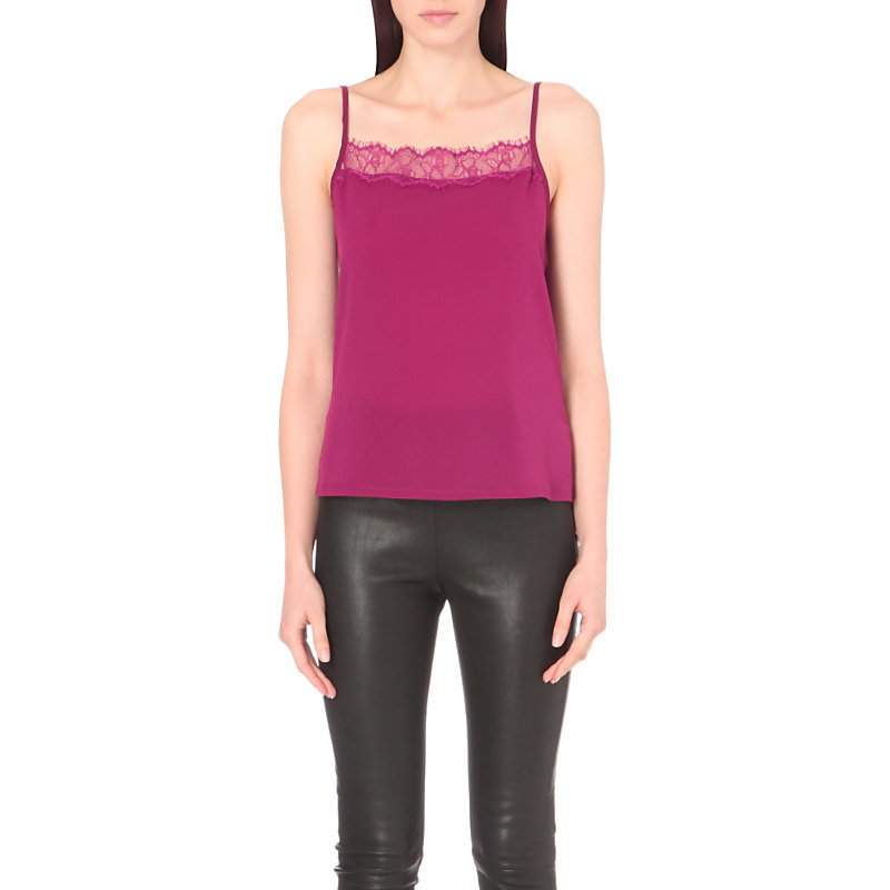Poly Plains Lace Trim Woven And Jersey Vest Top, Women's, Size: Small, Dark Magenta - sleeve style: spaghetti straps; pattern: plain; style: camisole; predominant colour: hot pink; occasions: casual, evening; length: standard; fibres: viscose/rayon - 100%; fit: body skimming; sleeve length: sleeveless; neckline: low square neck; pattern type: fabric; texture group: jersey - stretchy/drapey; embellishment: lace; season: a/w 2016; wardrobe: highlight