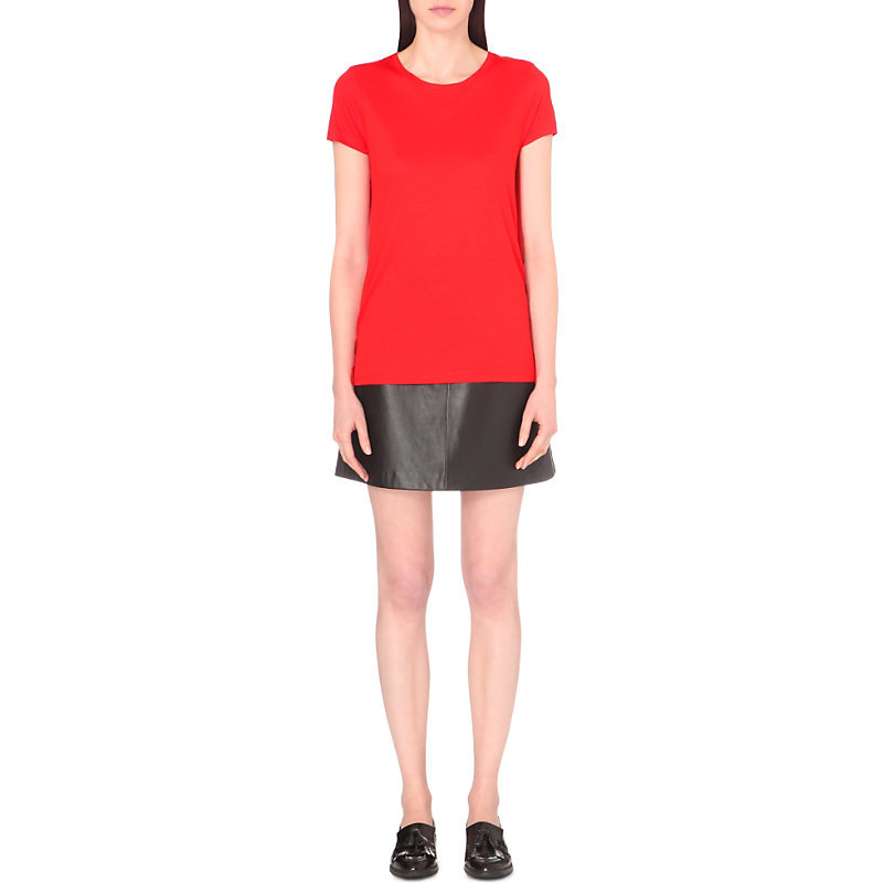 Vinny Jersey T Shirt, Women's, Size: Large, Masai Red - neckline: round neck; pattern: plain; style: t-shirt; predominant colour: true red; occasions: casual, creative work; length: standard; fibres: viscose/rayon - stretch; fit: loose; sleeve length: short sleeve; sleeve style: standard; pattern type: fabric; texture group: other - light to midweight; season: a/w 2016; wardrobe: highlight
