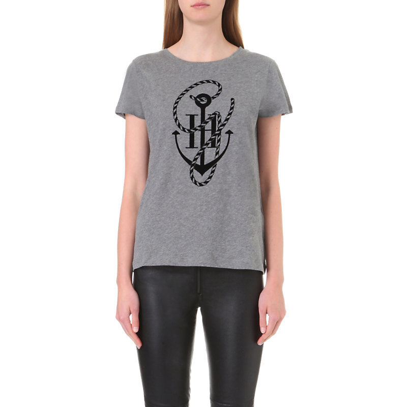 X Gigi Hadid Anchor Motif Cotton Jersey T Shirt, Women's, Size: Xs, Medium Grey Htr - style: t-shirt; predominant colour: mid grey; secondary colour: black; occasions: casual; length: standard; fibres: cotton - 100%; fit: body skimming; neckline: crew; sleeve length: short sleeve; sleeve style: standard; pattern type: fabric; texture group: jersey - stretchy/drapey; pattern: graphic/slogan; multicoloured: multicoloured; season: a/w 2016; wardrobe: highlight