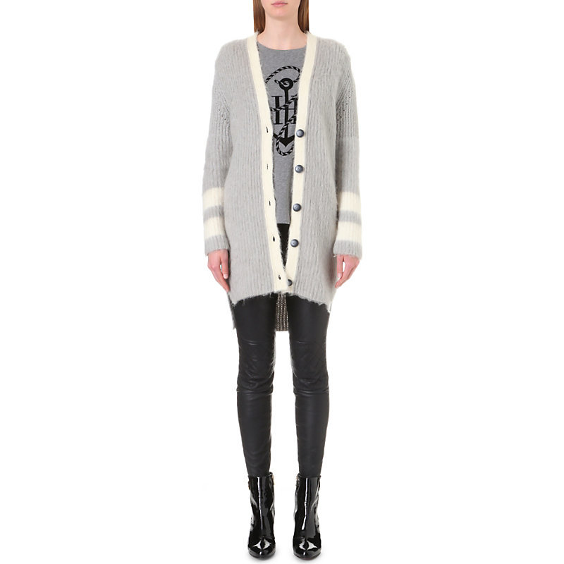 Tommy X Gigi Longline Wool Cardigan, Women's, Size: Xs, Snow Whte - pattern: plain; neckline: collarless open; predominant colour: light grey; occasions: casual, creative work; style: standard; fibres: wool - 100%; fit: loose; length: mid thigh; sleeve length: long sleeve; sleeve style: standard; texture group: knits/crochet; pattern type: knitted - fine stitch; wardrobe: basic; season: a/w 2016