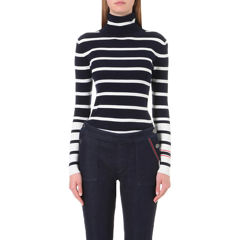 Tommy X Gigi Striped Turtleneck Cotton Jumper, Women's, Size: Medium, Navy Blazer/Snow White - pattern: horizontal stripes; neckline: roll neck; style: standard; predominant colour: navy; occasions: casual, creative work; length: standard; fibres: cotton - 100%; fit: slim fit; sleeve length: long sleeve; sleeve style: standard; texture group: knits/crochet; pattern type: knitted - fine stitch; pattern size: big & busy (top); season: a/w 2016; wardrobe: highlight