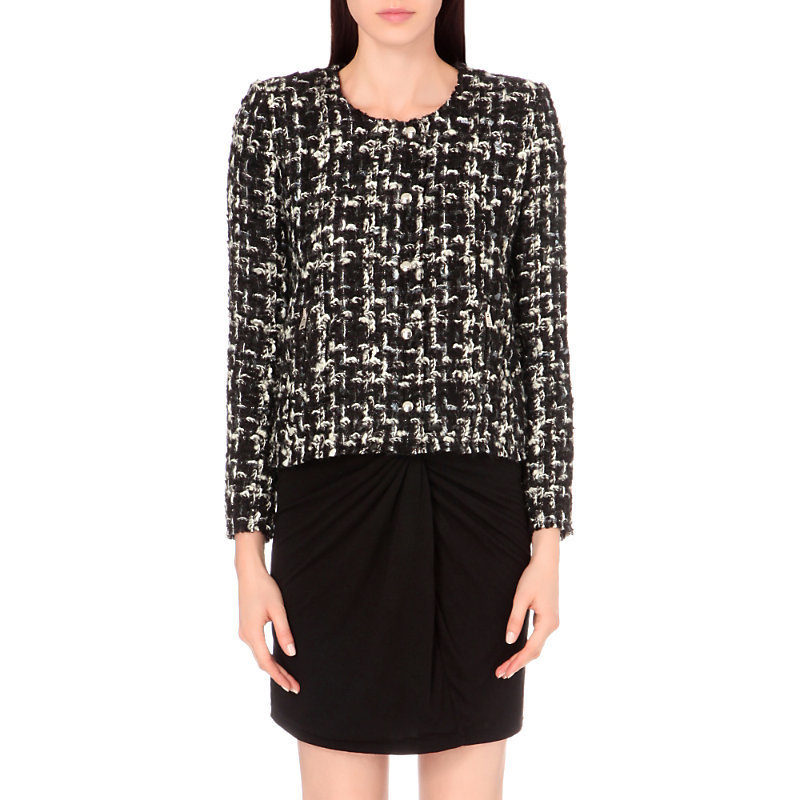Nalokie Tweed Jacket, Women's, Black White - collar: round collar/collarless; style: boxy; secondary colour: white; predominant colour: black; occasions: evening, work; length: standard; fit: straight cut (boxy); fibres: wool - mix; sleeve length: long sleeve; sleeve style: standard; collar break: high; pattern type: fabric; pattern: patterned/print; texture group: tweed - light/midweight; multicoloured: multicoloured; wardrobe: investment; season: a/w 2016