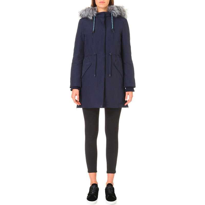 Granite Shell Parka Coat, Women's, Dark Blue/Gold - pattern: plain; collar: funnel; fit: loose; style: parka; back detail: hood; length: mid thigh; predominant colour: navy; occasions: casual; fibres: cotton - mix; sleeve length: long sleeve; sleeve style: standard; texture group: technical outdoor fabrics; collar break: high; pattern type: fabric; embellishment: fur; season: a/w 2016; wardrobe: highlight