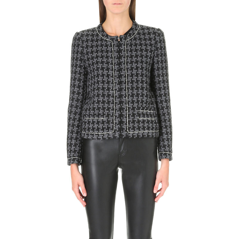 Voltaire Cotton Blend Jacket, Women's, Gris Chine - collar: round collar/collarless; style: boxy; predominant colour: mid grey; secondary colour: black; occasions: work, creative work; length: standard; fit: straight cut (boxy); fibres: cotton - mix; pattern: dogtooth; sleeve length: long sleeve; sleeve style: standard; collar break: high; pattern type: fabric; texture group: woven light midweight; multicoloured: multicoloured; wardrobe: investment; season: a/w 2016