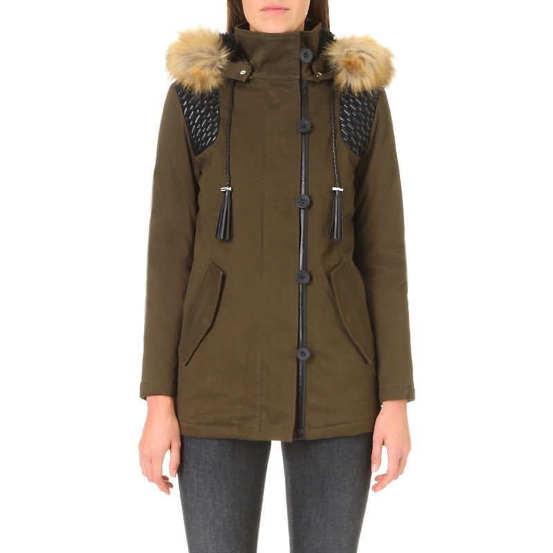Govo Cotton Blend Parka Coat, Women's, Green - pattern: plain; length: below the bottom; collar: funnel; fit: loose; style: parka; back detail: hood; predominant colour: khaki; occasions: casual; fibres: cotton - mix; sleeve length: long sleeve; sleeve style: standard; collar break: high; pattern type: fabric; texture group: woven bulky/heavy; embellishment: fur; season: a/w 2016; wardrobe: highlight