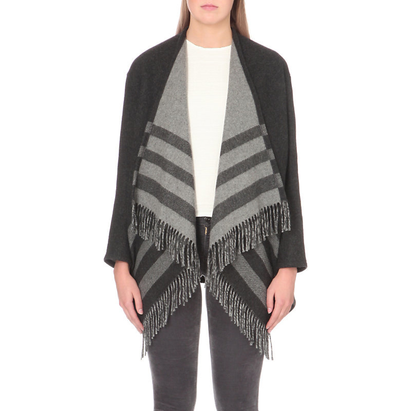 Gilla Wool Blend Jacket, Women's, Jacquard - pattern: horizontal stripes; collar: shawl/waterfall; fit: loose; predominant colour: charcoal; occasions: casual, creative work; fibres: wool - mix; length: mid thigh; sleeve length: long sleeve; sleeve style: standard; collar break: low/open; pattern type: knitted - fine stitch; texture group: brocade/jacquard; style: fluid/kimono; pattern size: big & busy (top); season: a/w 2016