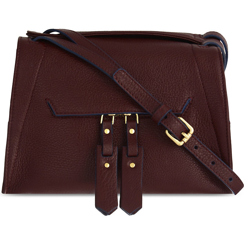 Alea Leather Cross Body, Women's, Red - predominant colour: burgundy; occasions: casual, work, creative work; type of pattern: standard; style: shoulder; length: across body/long; size: standard; material: leather; pattern: plain; finish: plain; season: a/w 2016; wardrobe: highlight