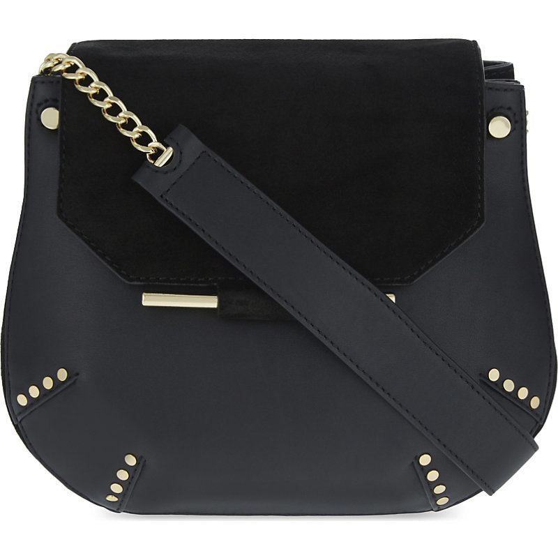 Bonnie Shoulder Bag, Women's, Noir - predominant colour: black; occasions: casual, creative work; type of pattern: standard; style: shoulder; length: shoulder (tucks under arm); size: standard; material: leather; pattern: plain; finish: plain; embellishment: chain/metal; wardrobe: investment; season: a/w 2016