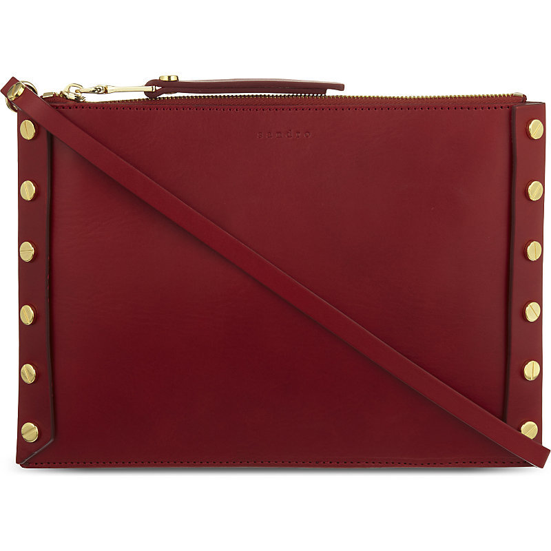 Abby Leather Pochette, Women's, Rouge - predominant colour: burgundy; occasions: casual, creative work; type of pattern: standard; style: shoulder; length: shoulder (tucks under arm); size: small; material: leather; embellishment: studs; pattern: plain; finish: plain; season: a/w 2016; wardrobe: highlight