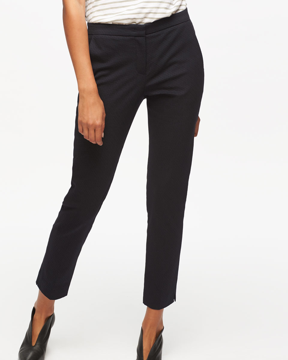 Weave Jacquard Trouser - pattern: plain; waist: mid/regular rise; predominant colour: navy; occasions: work; length: ankle length; fibres: cotton - mix; waist detail: feature waist detail; fit: slim leg; pattern type: fabric; texture group: brocade/jacquard; style: standard; wardrobe: basic; season: a/w 2016