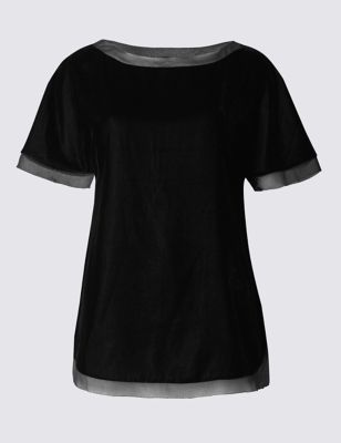 Petite Velvet Short Sleeve Boxy Shell Top - neckline: round neck; pattern: plain; style: t-shirt; predominant colour: black; occasions: casual, creative work; length: standard; fibres: polyester/polyamide - 100%; fit: straight cut; sleeve length: short sleeve; sleeve style: standard; pattern type: fabric; texture group: velvet/fabrics with pile; season: a/w 2016; wardrobe: highlight