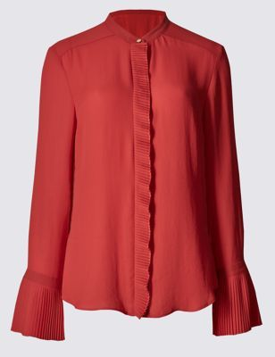 Frill Collared Neck Long Sleeve Blouse - sleeve style: bell sleeve; pattern: plain; style: blouse; predominant colour: true red; occasions: evening; length: standard; neckline: collarstand; fibres: polyester/polyamide - 100%; fit: body skimming; sleeve length: long sleeve; pattern type: fabric; texture group: other - light to midweight; season: a/w 2016; wardrobe: event