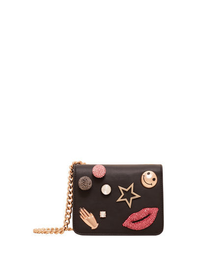 Appliqué Cross Body Bag - secondary colour: gold; predominant colour: black; occasions: casual, creative work; type of pattern: standard; style: messenger; length: across body/long; size: small; material: faux leather; pattern: plain; finish: plain; embellishment: chain/metal; season: a/w 2016; wardrobe: highlight