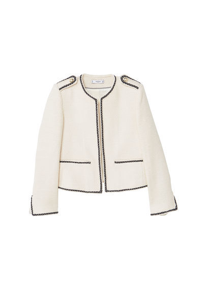 Contrast Trims Jacket - pattern: plain; collar: round collar/collarless; style: boxy; predominant colour: white; secondary colour: black; occasions: casual, work, creative work; length: standard; fit: straight cut (boxy); fibres: acrylic - mix; sleeve length: long sleeve; sleeve style: standard; collar break: high; pattern type: fabric; texture group: woven light midweight; multicoloured: multicoloured; wardrobe: basic; season: a/w 2016