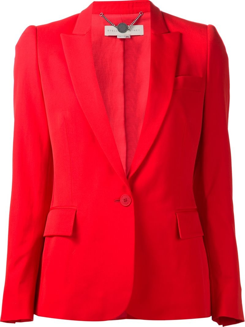 'ingrid' Jacket, Women's, Red - pattern: plain; style: single breasted blazer; collar: standard lapel/rever collar; predominant colour: true red; occasions: work; length: standard; fit: tailored/fitted; fibres: cotton - mix; sleeve length: long sleeve; sleeve style: standard; collar break: medium; pattern type: fabric; texture group: woven light midweight; wardrobe: investment; season: a/w 2016