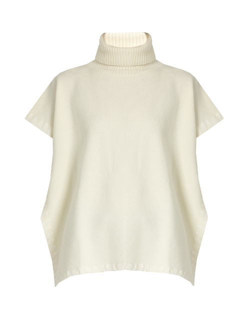 Roll Neck Whipstich Edged Wool Poncho - pattern: plain; neckline: roll neck; style: poncho; predominant colour: ivory/cream; occasions: casual, creative work; length: standard; fibres: wool - 100%; fit: loose; sleeve length: short sleeve; sleeve style: standard; texture group: knits/crochet; pattern type: knitted - fine stitch; season: a/w 2016; wardrobe: highlight