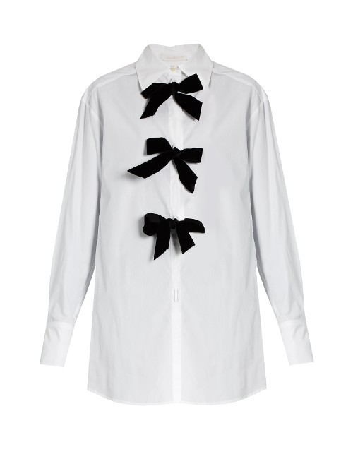 Decorative Bow Cotton Poplin Shirt - neckline: shirt collar/peter pan/zip with opening; pattern: plain; bust detail: added detail/embellishment at bust; style: shirt; predominant colour: white; secondary colour: black; occasions: casual, creative work; fibres: cotton - 100%; fit: loose; length: mid thigh; sleeve length: long sleeve; sleeve style: standard; texture group: cotton feel fabrics; pattern type: fabric; season: a/w 2016; wardrobe: highlight