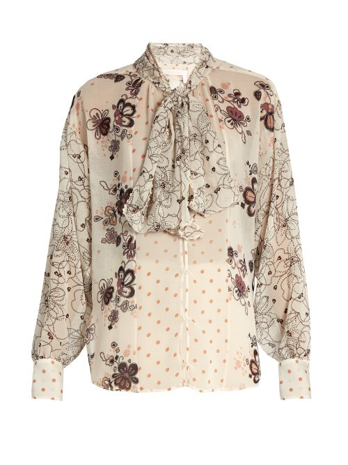 Tie Neck Multi Floral Print Blouse - neckline: pussy bow; style: blouse; predominant colour: ivory/cream; secondary colour: mid grey; occasions: work, occasion, creative work; length: standard; fibres: polyester/polyamide - 100%; fit: body skimming; sleeve length: long sleeve; sleeve style: standard; pattern type: fabric; pattern: florals; texture group: other - light to midweight; pattern size: big & busy (top); season: a/w 2016; wardrobe: highlight