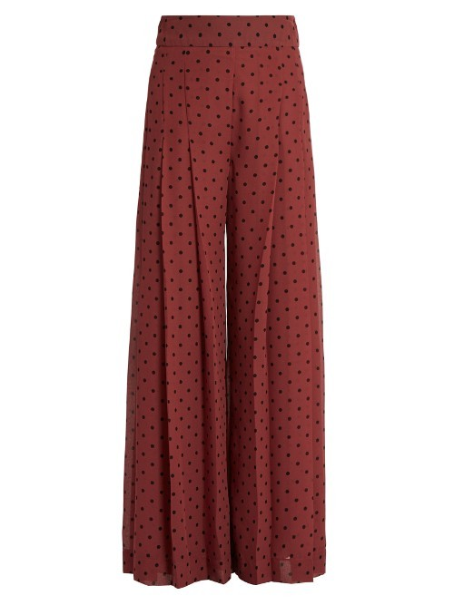 Wide Leg Pleated Culottes - length: standard; style: palazzo; waist: high rise; pattern: polka dot; predominant colour: burgundy; occasions: casual, creative work; fibres: polyester/polyamide - 100%; hip detail: front pleats at hip level; fit: wide leg; pattern type: fabric; texture group: other - light to midweight; season: a/w 2016