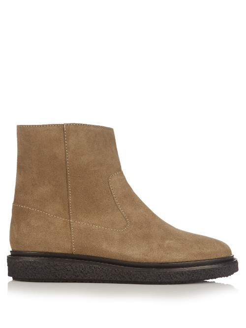 Connor Suede Ankle Boots - predominant colour: camel; occasions: casual, creative work; material: suede; heel height: flat; heel: block; toe: round toe; boot length: ankle boot; style: standard; finish: plain; pattern: plain; season: a/w 2016