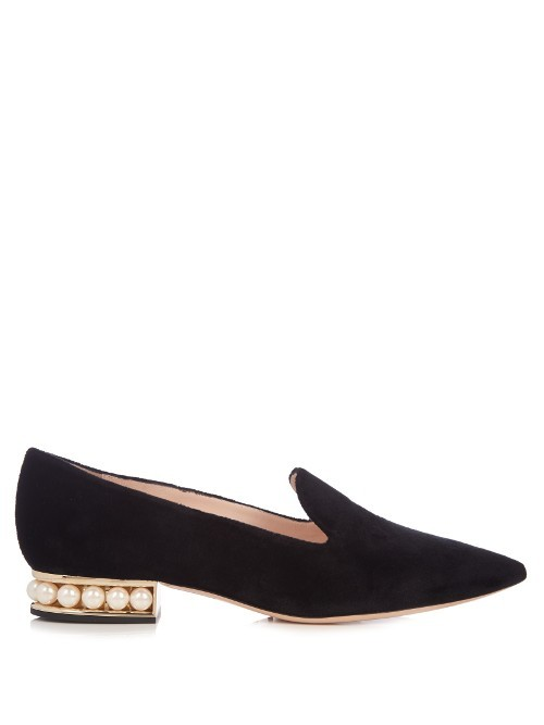 Casati Pearl Heeled Velvet Loafers - predominant colour: black; occasions: occasion, creative work; material: velvet; heel height: flat; embellishment: pearls; toe: pointed toe; style: loafers; finish: plain; pattern: plain; season: a/w 2016