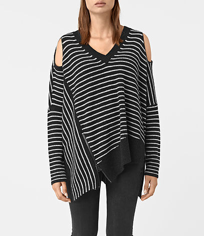 Able Stripe Open Shoulder Jumper - neckline: v-neck; pattern: striped; style: square cut; predominant colour: black; occasions: casual; length: standard; fibres: wool - mix; fit: loose; shoulder detail: cut out shoulder; sleeve length: long sleeve; sleeve style: standard; texture group: knits/crochet; pattern type: knitted - fine stitch; pattern size: standard; season: a/w 2016; wardrobe: highlight