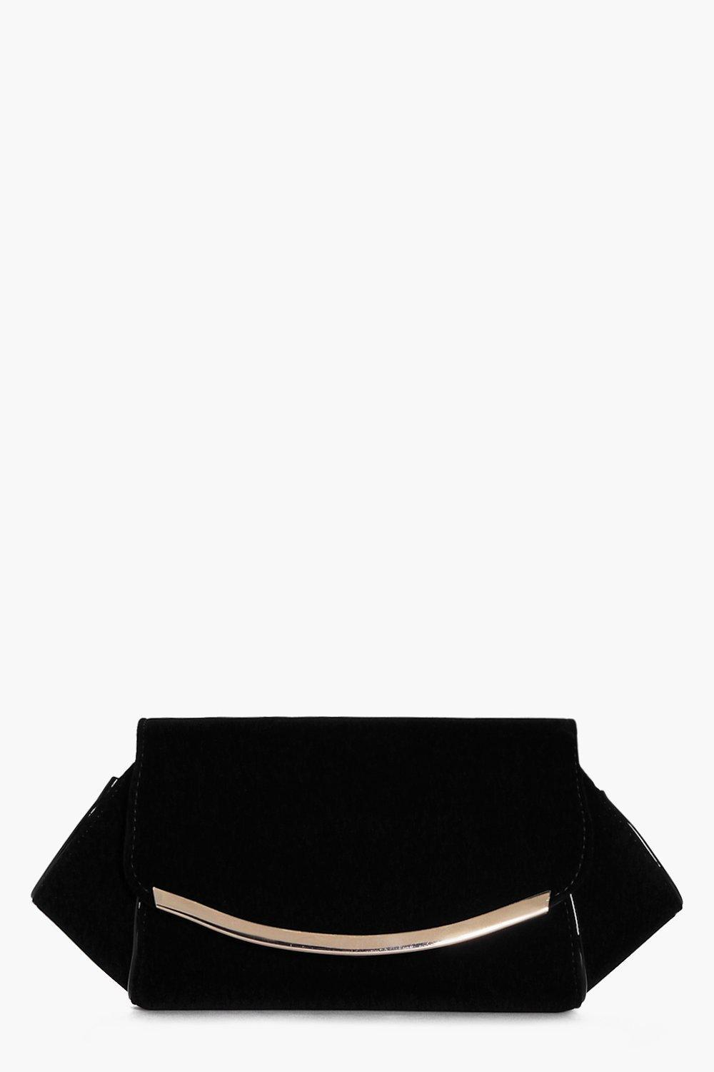 Winged Metal Detail Velvet Clutch Black - predominant colour: black; occasions: evening, occasion; type of pattern: small; style: clutch; length: hand carry; size: small; material: velvet; pattern: plain; finish: plain; season: a/w 2016; wardrobe: event; trends: velvet