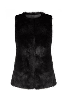 Faux Fur Gilet - pattern: plain; sleeve style: sleeveless; style: gilet; collar: round collar/collarless; fit: slim fit; predominant colour: black; occasions: casual, creative work; length: standard; fibres: acrylic - mix; sleeve length: sleeveless; texture group: fur; collar break: low/open; pattern type: fabric; season: a/w 2016; wardrobe: highlight