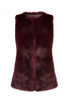Faux Fur Gilet - pattern: plain; sleeve style: sleeveless; style: gilet; collar: round collar/collarless; fit: slim fit; predominant colour: black; occasions: casual, creative work; length: standard; fibres: acrylic - 100%; sleeve length: sleeveless; texture group: fur; collar break: high; pattern type: fabric; embellishment: fur; season: a/w 2016; wardrobe: highlight