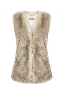Casual Fur Gilet - pattern: plain; sleeve style: sleeveless; style: gilet; collar: round collar/collarless; fit: slim fit; predominant colour: camel; occasions: casual, creative work; length: standard; fibres: acrylic - 100%; sleeve length: sleeveless; texture group: fur; collar break: medium; pattern type: fabric; embellishment: fur; season: a/w 2016; wardrobe: highlight; embellishment location: all over