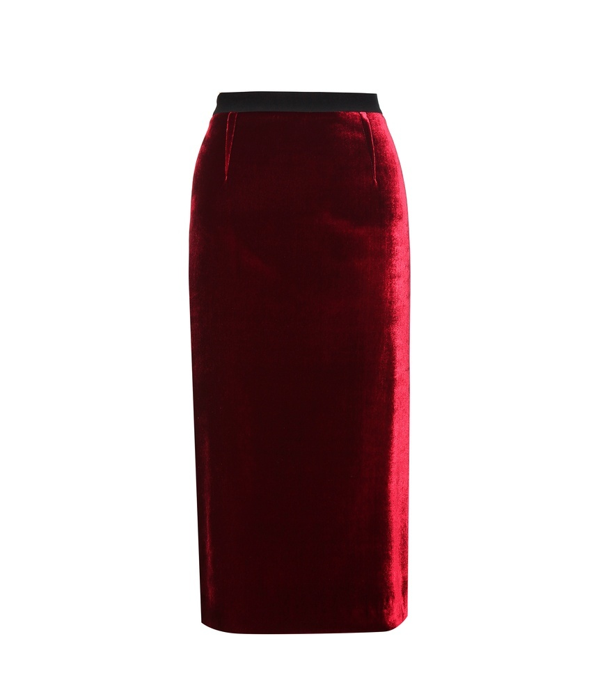 Arreton Velvet And Crêpe Skirt - length: below the knee; pattern: plain; style: pencil; fit: tailored/fitted; waist: high rise; predominant colour: true red; occasions: evening, creative work; fibres: viscose/rayon - stretch; pattern type: fabric; texture group: velvet/fabrics with pile; season: a/w 2016; wardrobe: highlight; trends: velvet