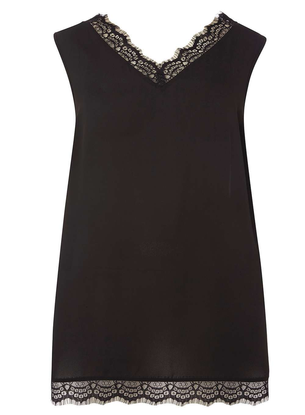 Womens Dp Curve Plus Size Black Eyelash Lace Camisole Black - neckline: v-neck; pattern: plain; sleeve style: sleeveless; style: camisole; predominant colour: black; occasions: casual, evening, creative work; length: standard; fibres: polyester/polyamide - 100%; fit: body skimming; sleeve length: sleeveless; texture group: silky - light; pattern type: fabric; embellishment: lace; season: a/w 2016; wardrobe: highlight